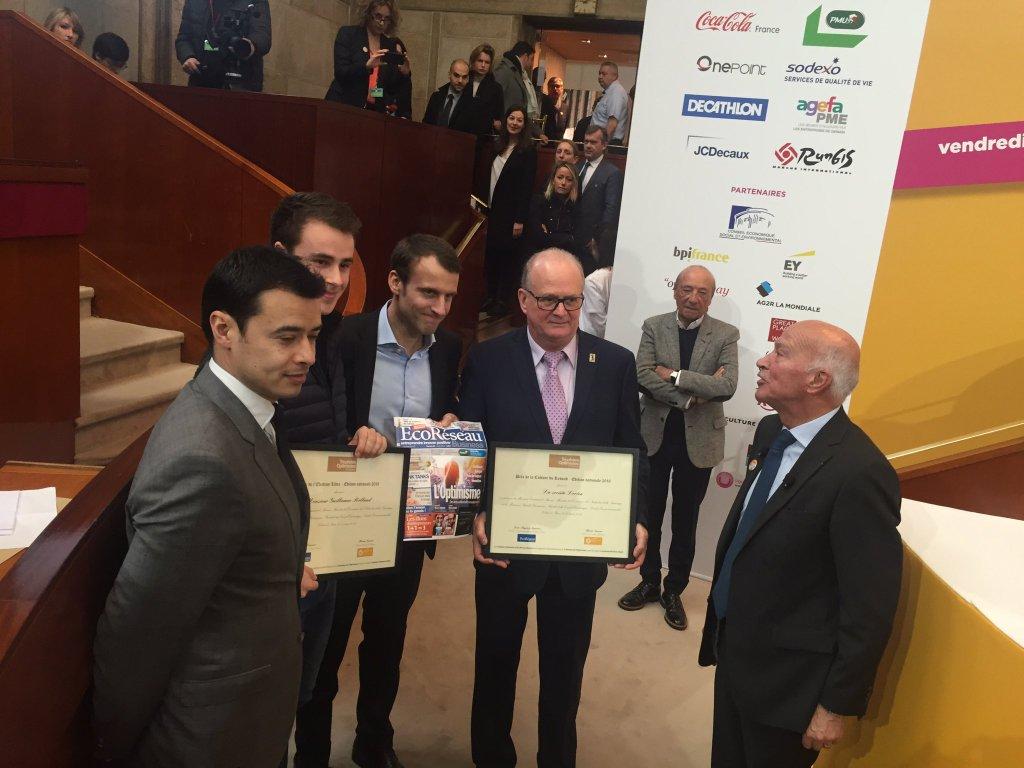 Remise de l'édition Nationale des Trophées de l'Optimisme en présence d'Emmanuel Macron au CESE lors du Printemps de l'Optimisme avec le soutien d'Audencia Nantes